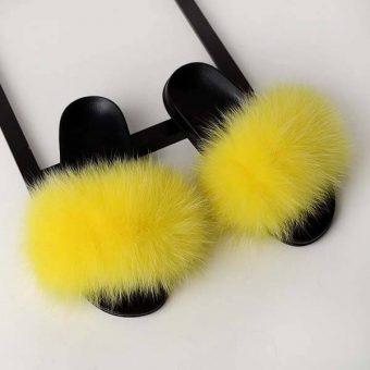 claquette fourrure jaune